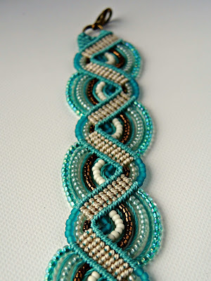 Teal micro macrame bracelet by Sherri Stokey.
