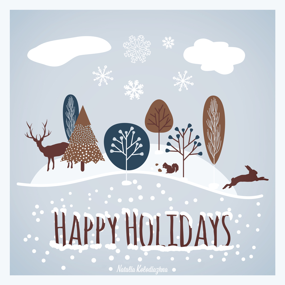 Happy holidays greeting card by Natalia Kolodiazhna