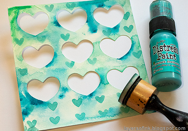 Layers of ink - Mixed Media Heart Windows Tutorial by Anna-Karin Evaldsson. Stencil hearts, with SSS Heart Layers.
