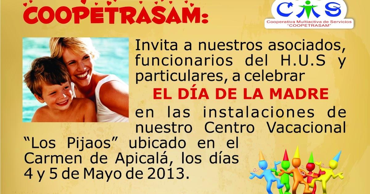 Invitación A Celebración Día De La Madre: COOPERATIVA MULTIACTIVA DE SERVICIOS COOPETRASAM