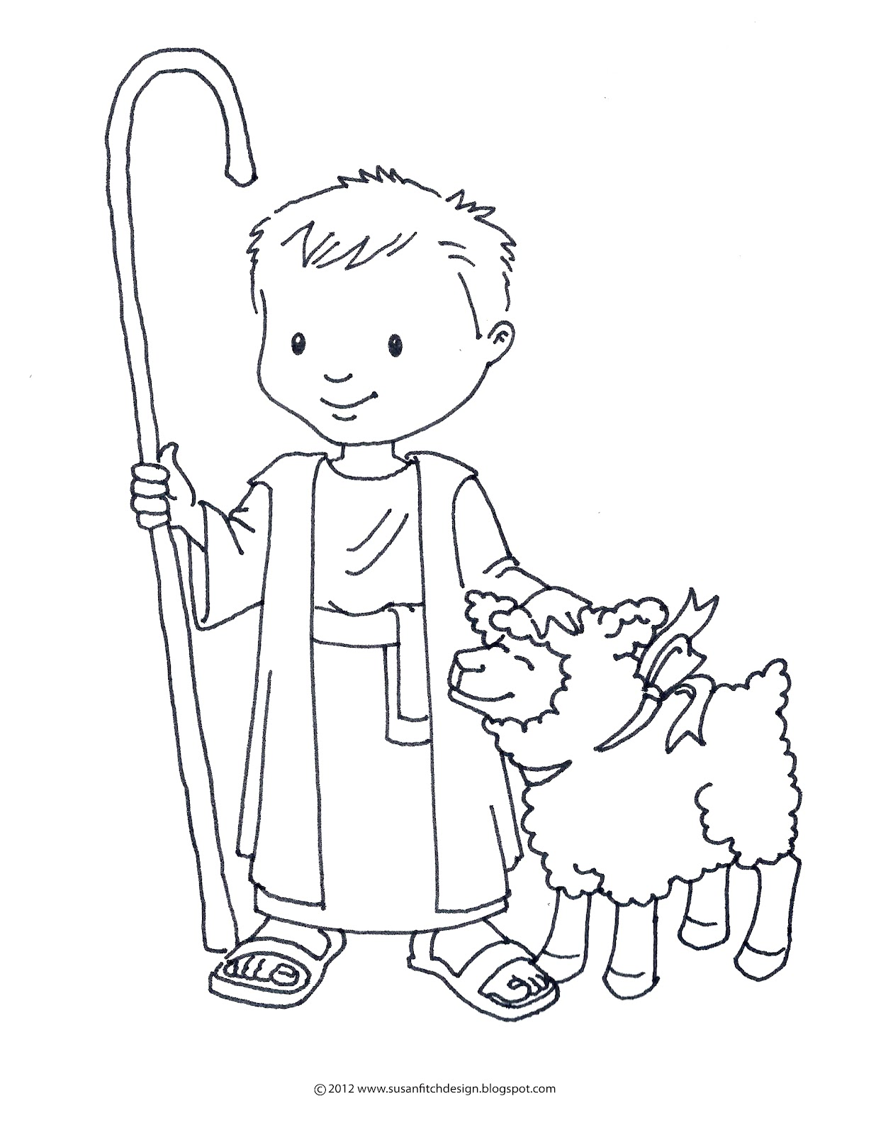 Susan fitch design for Shepherd and sheep coloring page