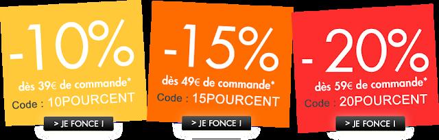 Code promotionnelle de 10 à 20%