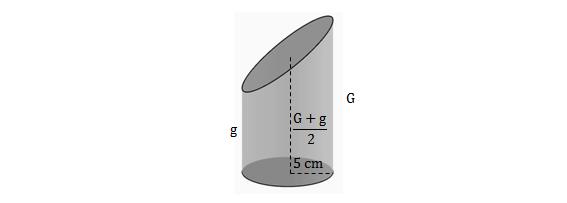 Tronco de cilindro de raio 5 cm