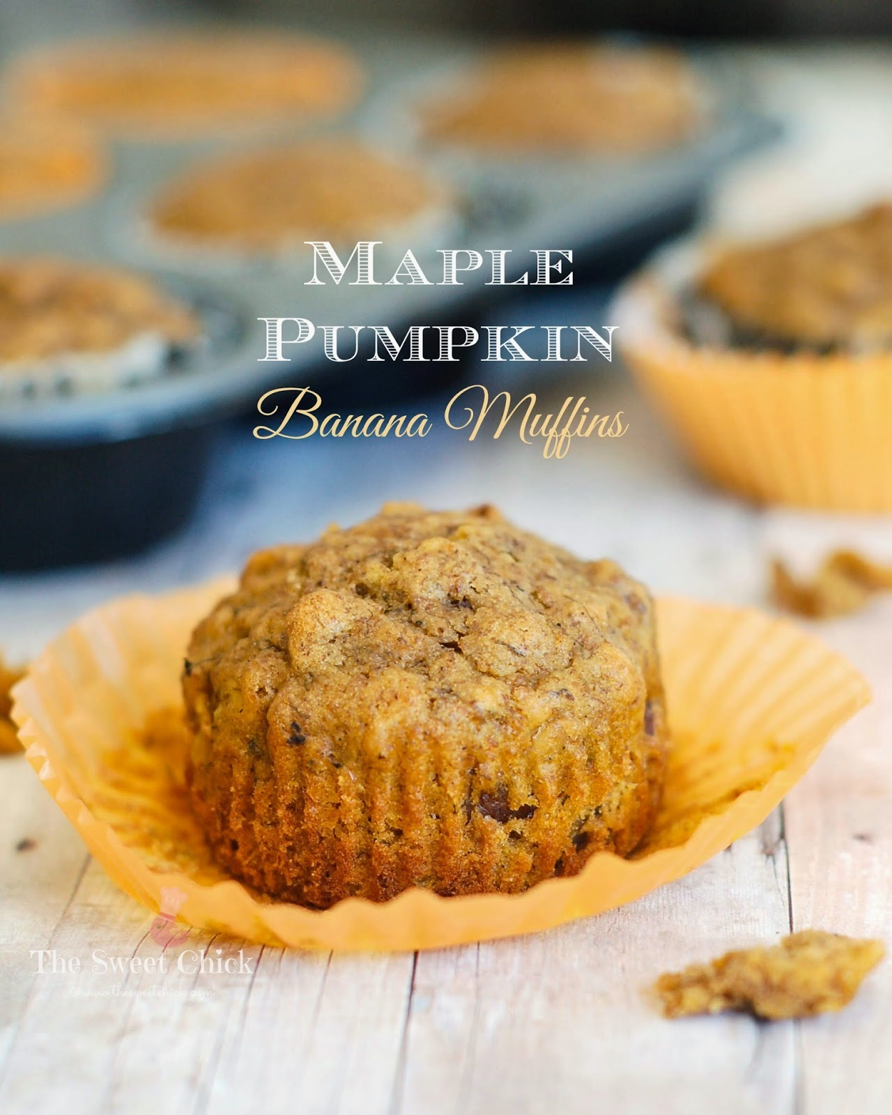 Maple Pumpkin Banana Muffins by The Sweet Chick