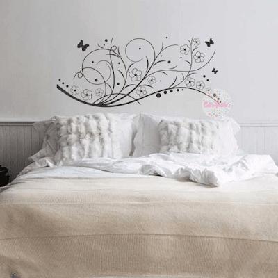 vinilo floral cabecero cama