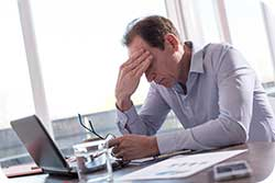 Stressed man and the human stress response