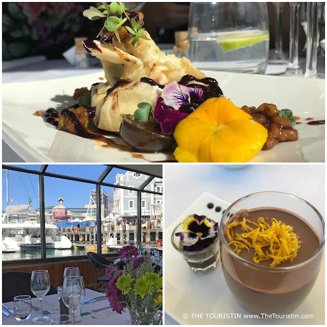 Vegetables decorated with edible flowers. The view towards a red lighthouse from the table of a restaurant. Chocolate Mousse in a glas decorated with edible flowers.