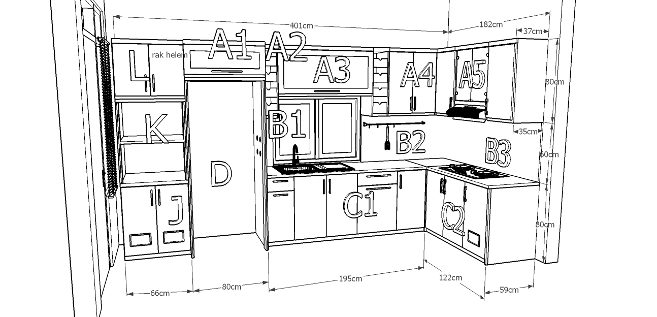 Kitchen set dan minibar meja granit marmer impor di for Ukuran kitchen set