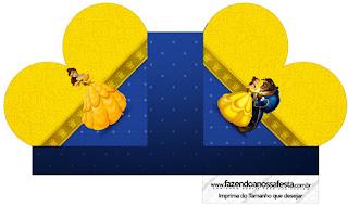 Caja abierta en forma de corazón de Fiesta de La Bella y la Bestia.