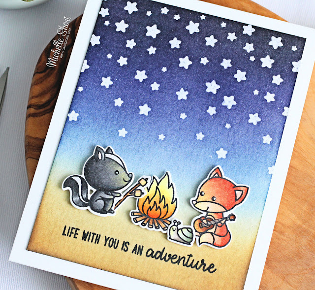 Sunny Studio Stamps: Critter Campout Cascading Stars Card by Michelle Short