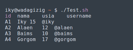 sebetulnya sanggup secara eksklusif dilakukan dengan cara mengetikan baris perintah berikut  Mengakses SQL Database dengan Shell Script (Bash)
