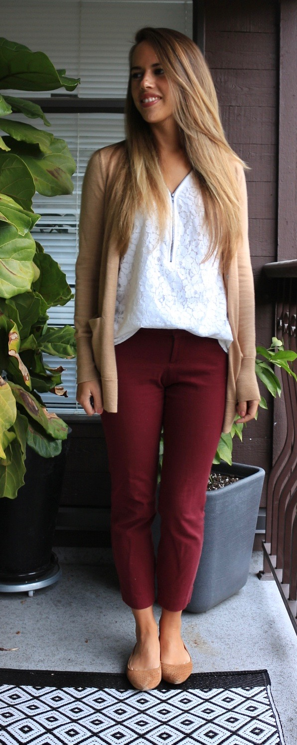 Jules in Flats - Camel and Burgundy for Work (Fall Workwear on a Budget)