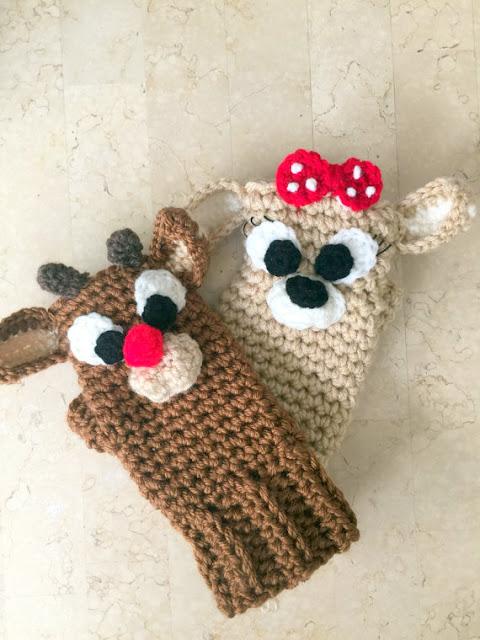 reindeer christmas mittens gloves crochet pattern