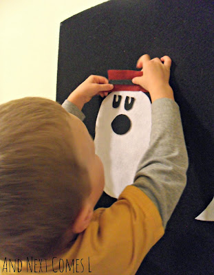Making a ghost on the felt board from And Next Comes L