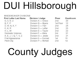 Judge Dick Greco, Jr., Judge Eric R Myers, Judge Scott A Farr, Judge Lawrence M Lefler, Judge Margaret R Taylor, Judge Richard A Weis, Judge Paul T Jeske, Judge John N Conrad, Judge Art McNeil, DUI  Hillsborough, DUI Tampa,
