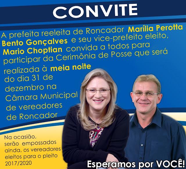 Prefeita  reeleita, Doutora Marília, convida todos os roncadorenses para cerimônia de posse