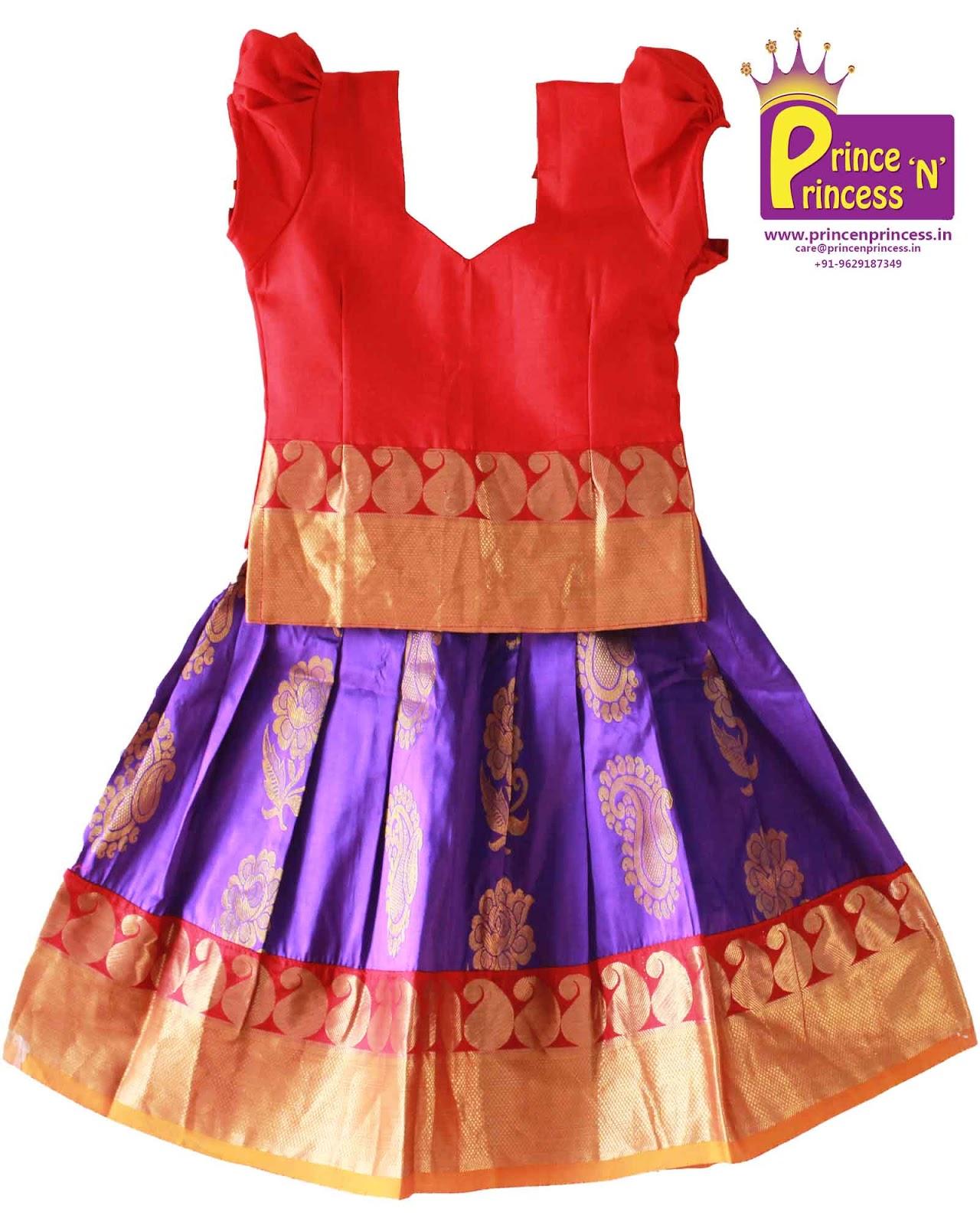 Kancheepuram Silk Pavadai langa for 6 months Baby –