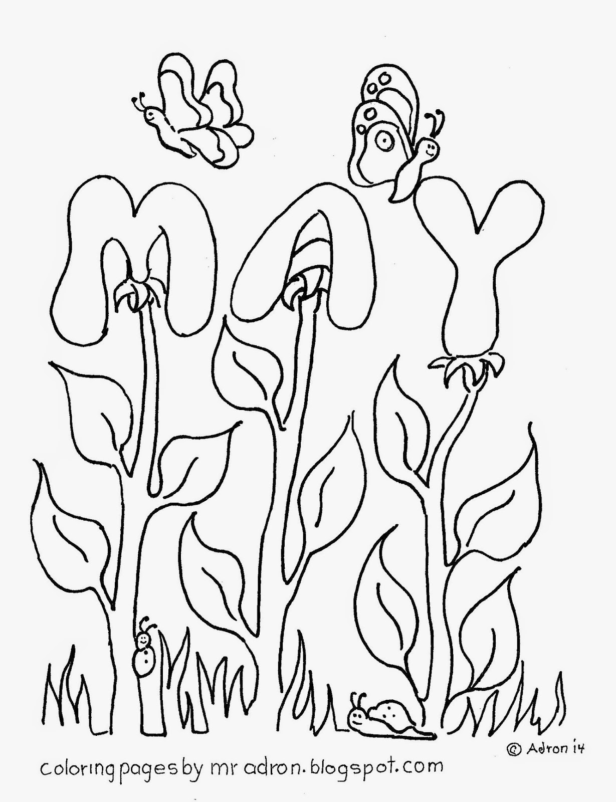 An illustration of the Month of May to print and color.