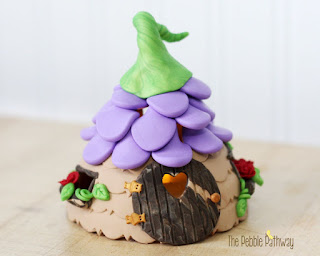 Fairy House with Purple Flower Petal Roof
