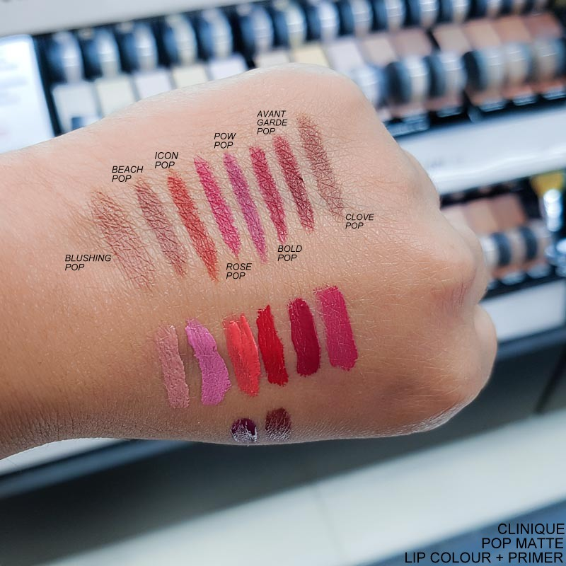 Clinique Pop Matte Lipsticks - Swatches - Blushing Beach Icon Rose Pow Bold Avant Garde Clove
