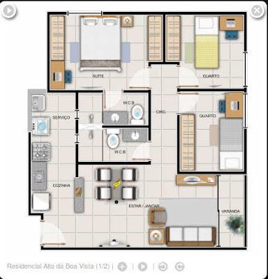 Essa é a planta dos apartamentos de 3 quartos a que se refere esta postagem