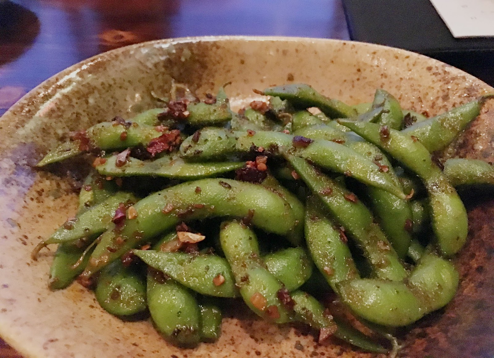 spicy edamame at ka sushi, a restaurant in Houston, Texas
