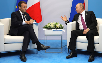 Russian President at the meeting with President of France Emmanuel Macron.