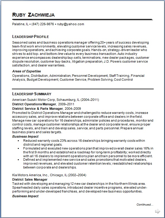 District Operations Manager Sample Resume Format in Word Free Download