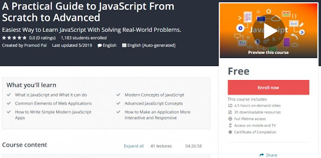 [100% Free] A Practical Guide to JavaScript From Scratch to Advanced