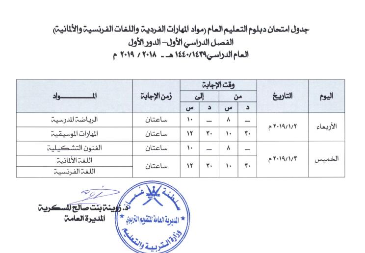 بداية الفصل الدراسي الثاني عمان