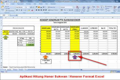 Aplikasi Hitung Honor Sukwan, Honorer dan Operator Sekolah Format Excel