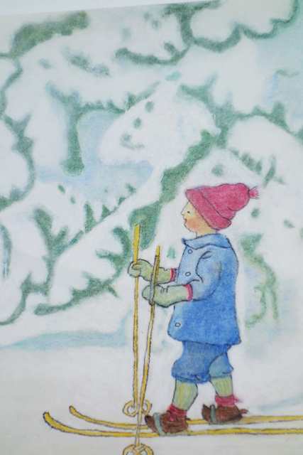 Pastel pencil drawing Olle on nature table winter