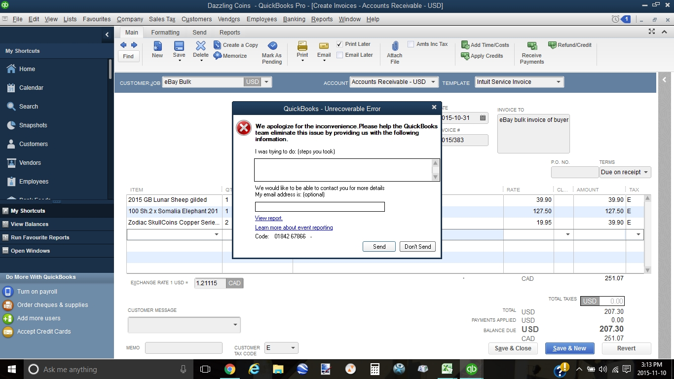 Error 0184267866 when creating invoice for customer Quickbooks - Quicken Tips