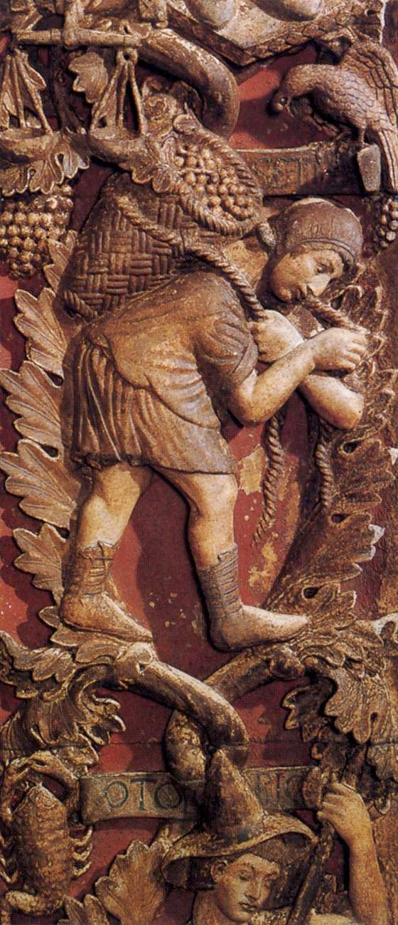 13th century bas-relief of the month of September, Central door, Basilica San Marco, Venice
