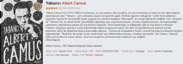 Albert Camus - Yabancı kitabı, kitap özeti, yorum, oku, pdf