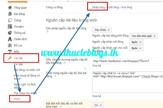 Các bước Import data vào blogspot