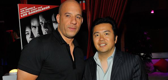Regizorul Justin Lin şi starul Vin Diesel la filmările pentru filmul scurt Los Bandoleros