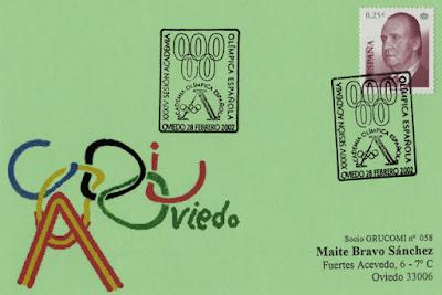 Tarjeta del matasellos de la 34 Sesión de la Academia Olímpica Española en Oviedo