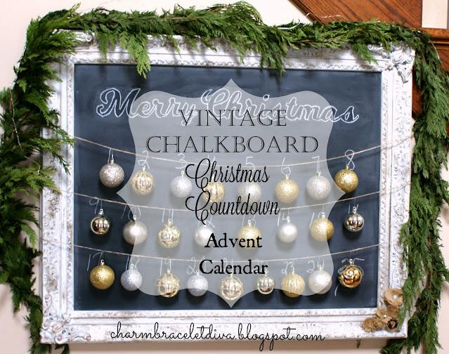 vintage chalkboard Christmas countdown Advent calendar