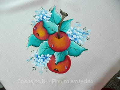 pintura em tecido galho de maças