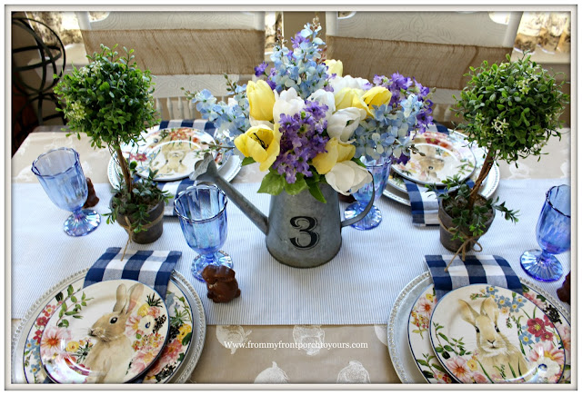 Spring-Easter-Tablescape-Cottage-Farmhouse-Buffalo Check-Luster Blue-Pioneer Woman-Flora-Dinnerware-Potter Barn-Blue-White-From My Front Porch To Yours