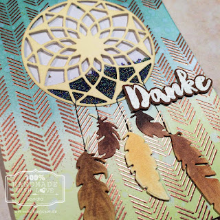 Danke karte mit Marianne Design Traumfänger und MFT Arrows End Background Stamp3