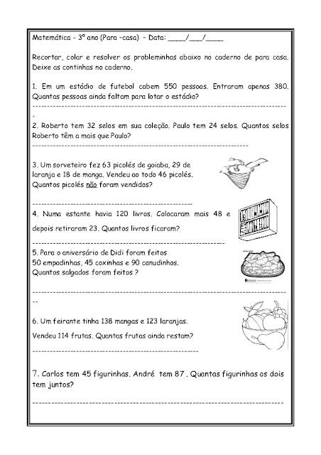 problemas matematica 3 ano