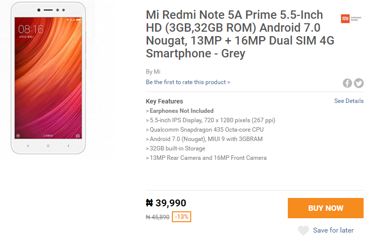 Flash Sale: Buy Redmi Note 5A Prime with Snapdragon 435 And 3GB RAM For N39,990