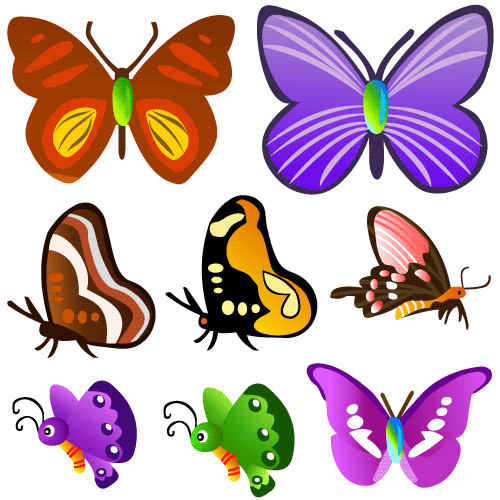 Mariposas cartoon varios estilos - Vector