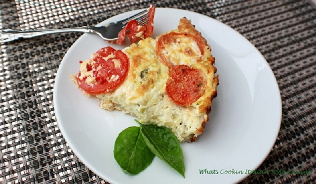 this is an Italian Zucchini and Plum tomato quiche with a crust made with eggs and cheese