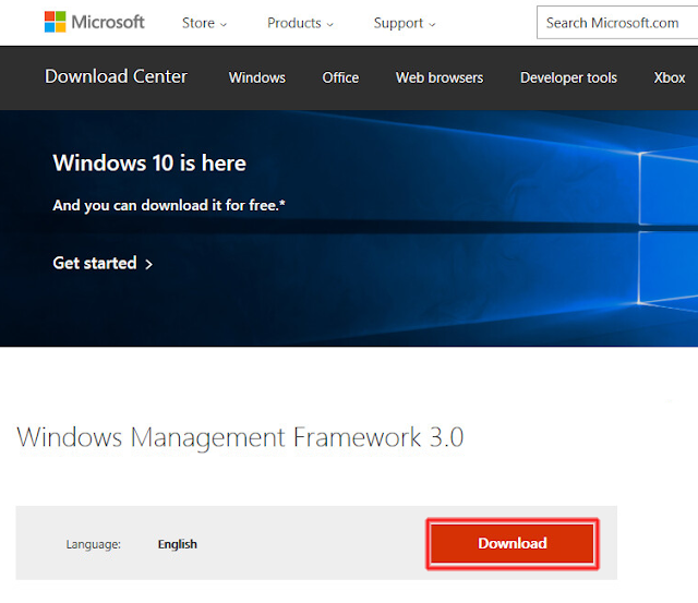 Download Microsoft Windows Management Framework 3.0.