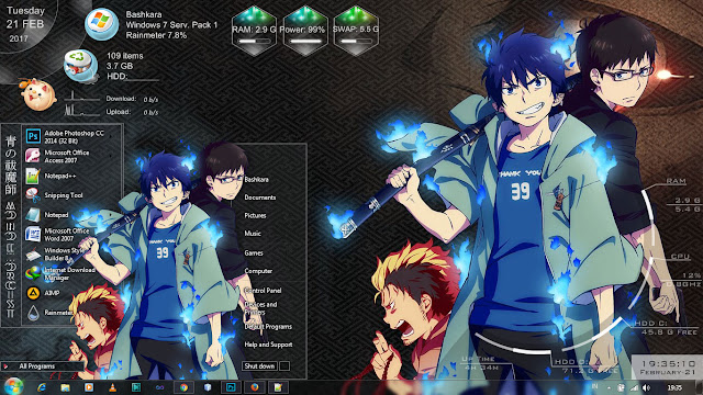 Ao No Exorcist: Kyoto Fujouou-hen Windows 7 Theme