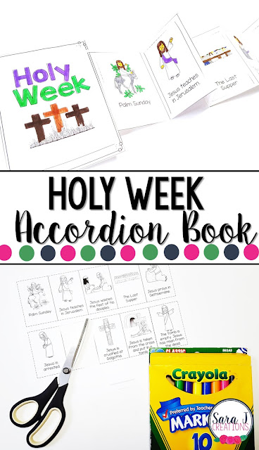 Holy Week printable mini book is the perfect activity for kids so that they can learn the events of Holy Week and Easter