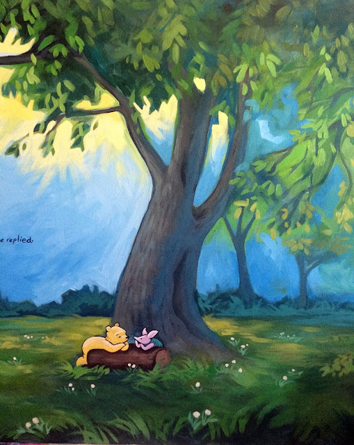 pooh mural, winnie the pooh art, pooh and piglet mural,